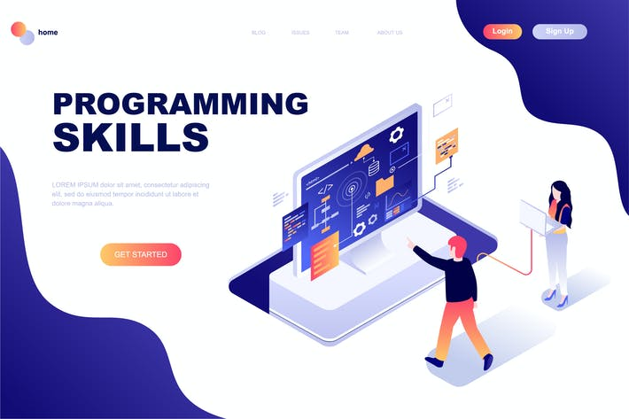 Thumbnail for Programming Skills Isometric Landing Page Template