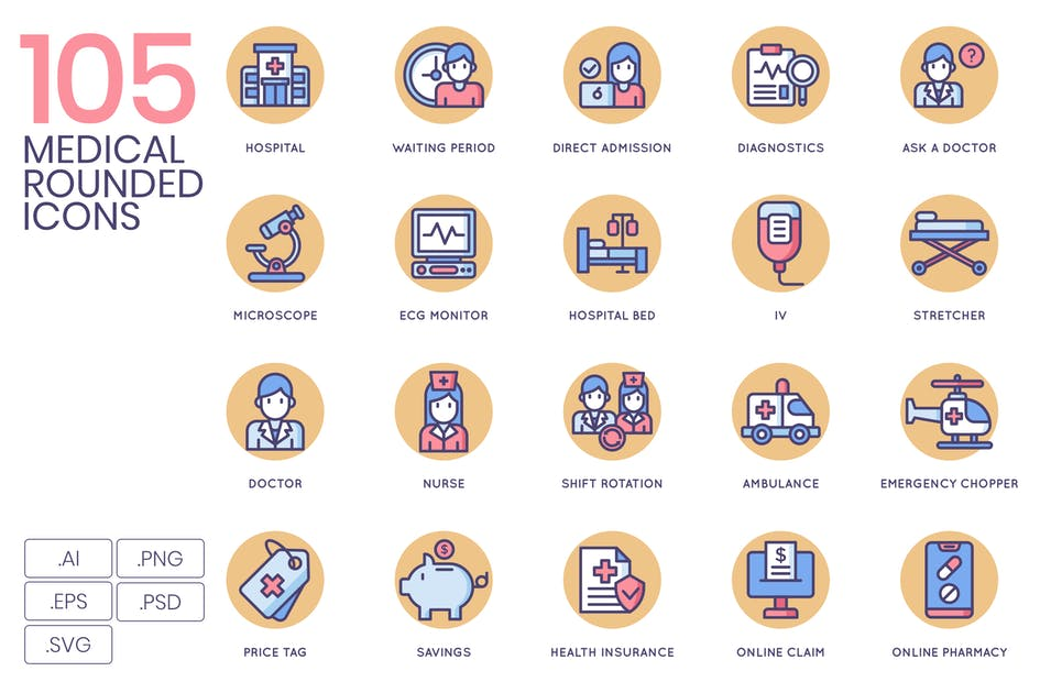 Download 105 Medical Icons | Butterscotch by Krafted
