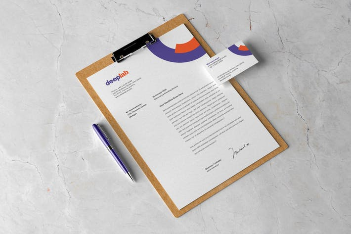 Stationery Branding Mockup with Clipboard