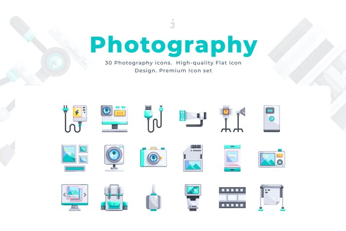 Thumbnail for 30 Photography Icons - Flat