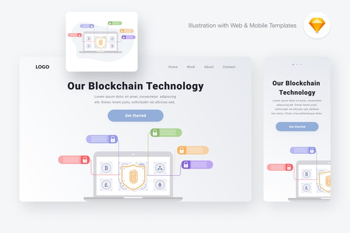 Thumbnail for Blockchain technology illustration (Sketch, SVG)