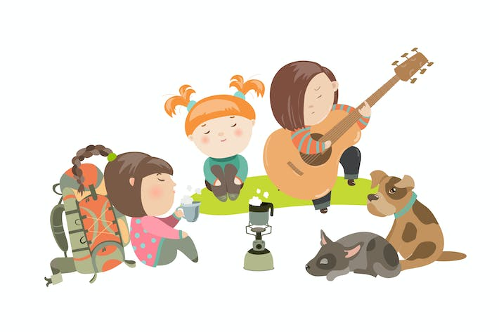 Thumbnail for Kids on a Camping Trip with Dogs. Vector
