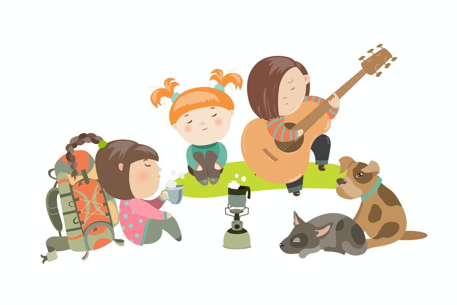 Kids on a Camping Trip with Dogs. Vector