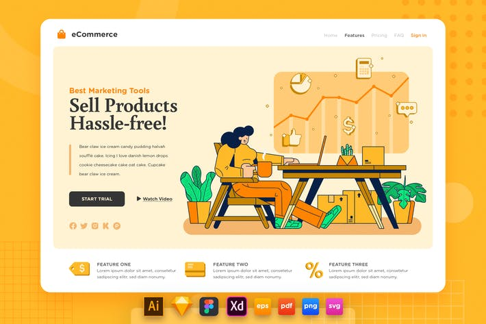 Thumbnail for Landing Page V.20 Ecommerce - Store Analytics