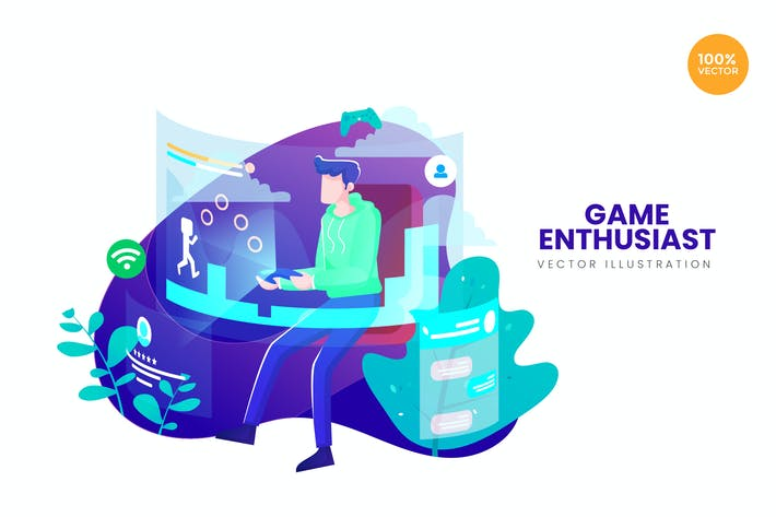 Thumbnail for Game Enthusiast Vector Illustration Concept