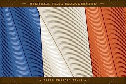 Vintage Flag Of France. Close-up Background