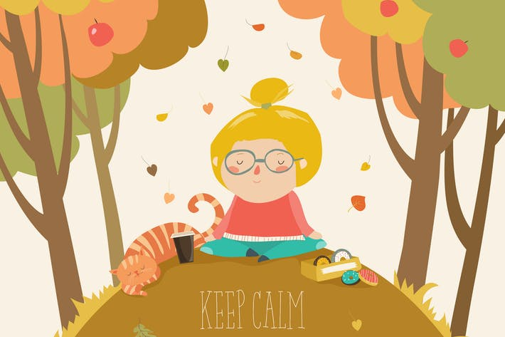 Yoga time in autumn park card template. Vector