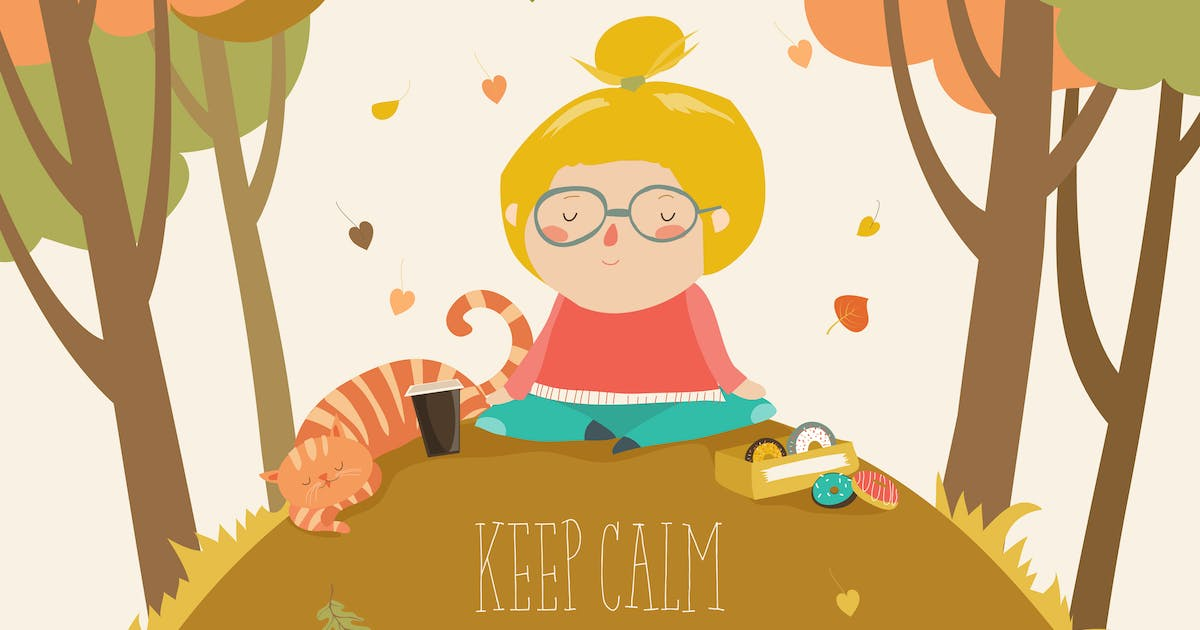 Download Yoga time in autumn park card template. Vector by masastarus