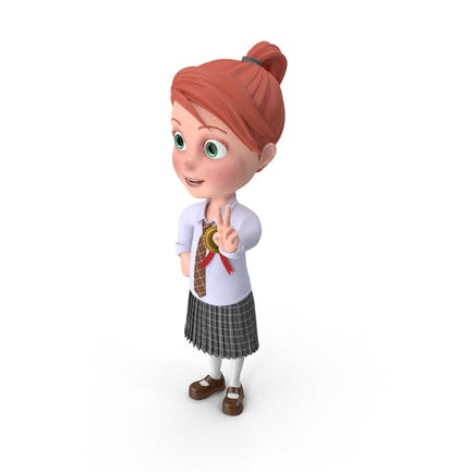 Cartoon Girl Grace with Medal