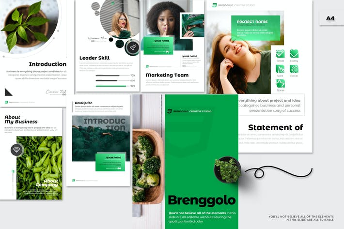 Thumbnail for Brenggolo - A4 Powerpoint Template