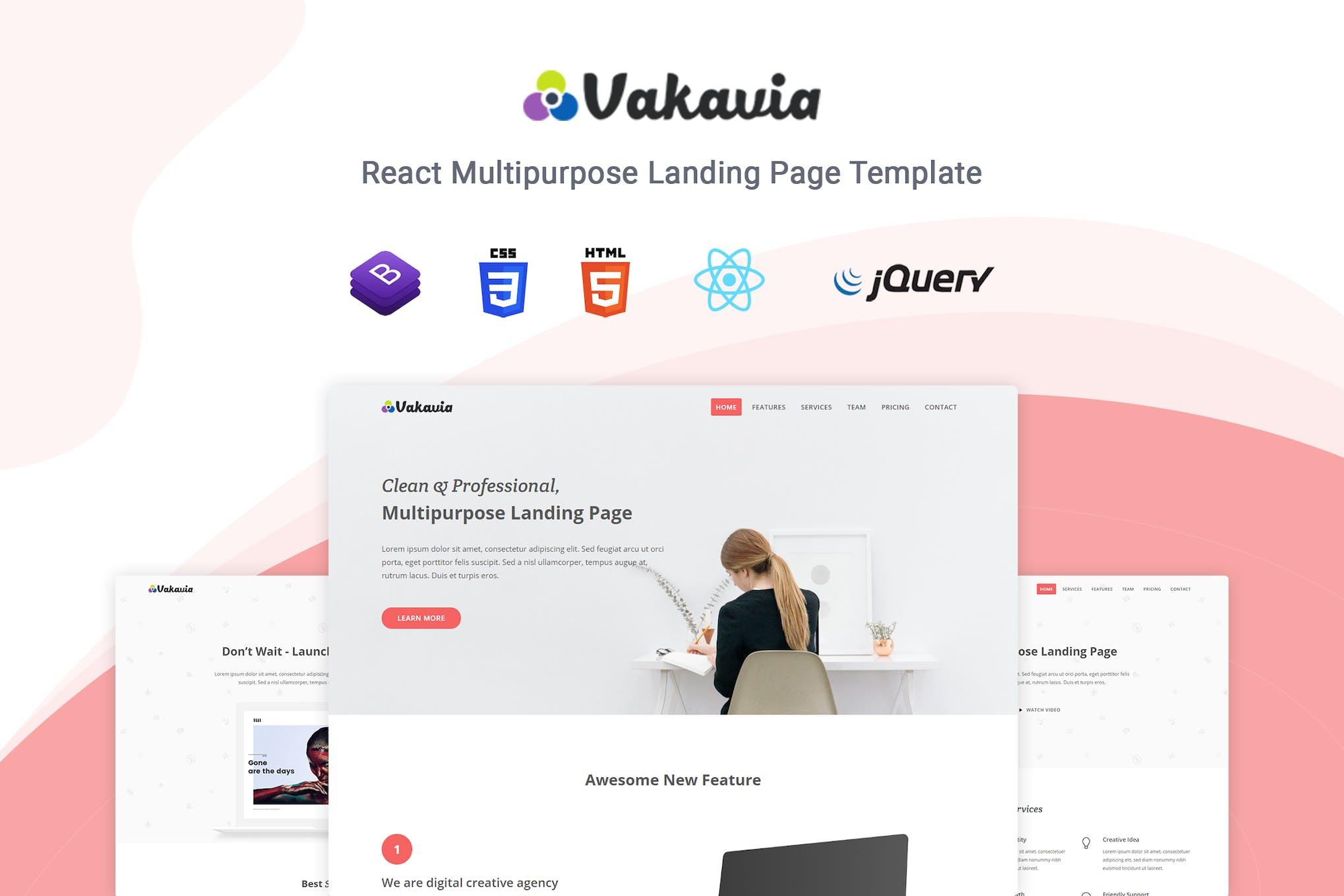 Vakavia - React Landing Page Template