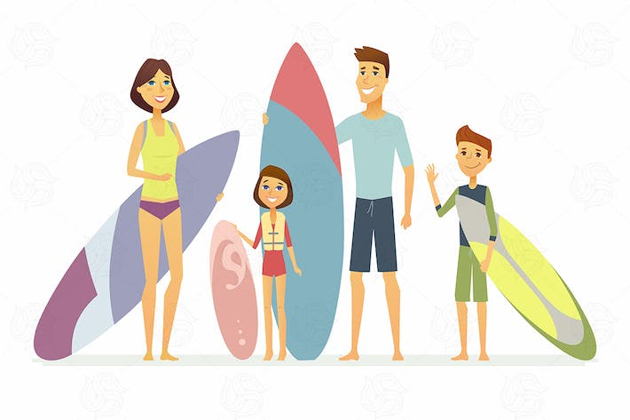 Thumbnail for Family goes surfing - vector illustration