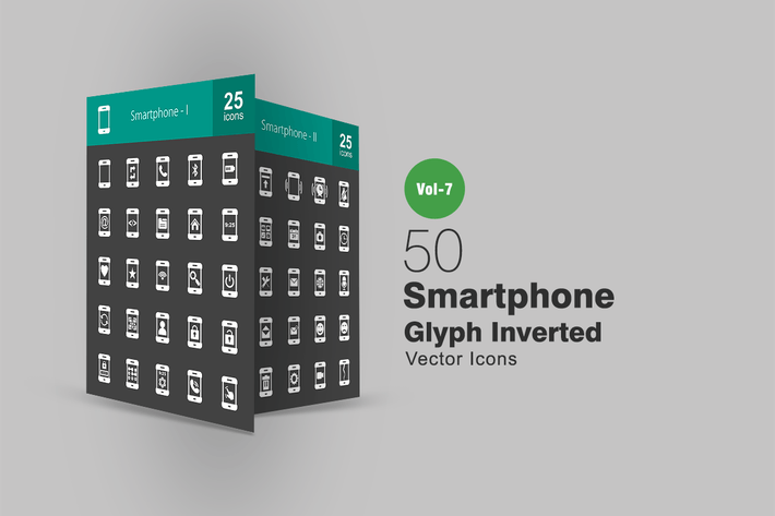 Thumbnail for 50 Smartphone Glyph Inverted Icons