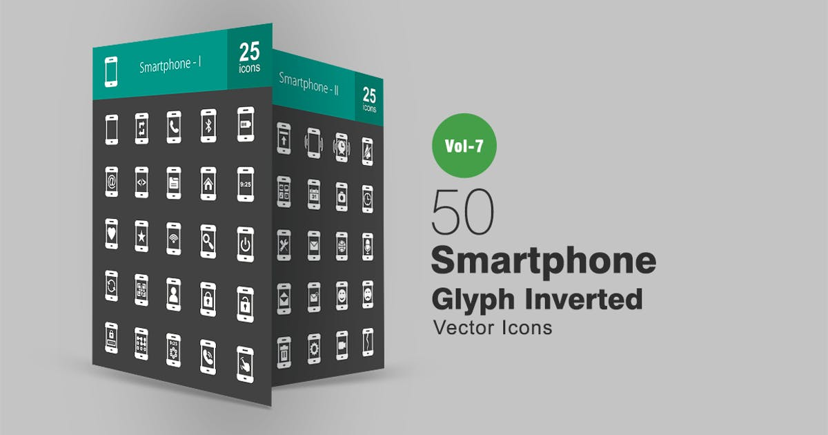 Download 50 Smartphone Glyph Inverted Icons by Unknow