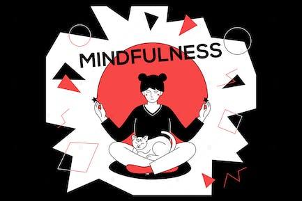Mindfulness - ilustración de estilo de diseño plano