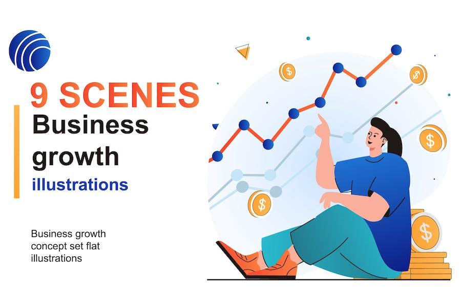 Business Growth Web Scenes Set
