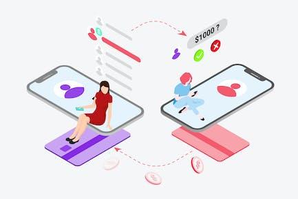 Money Exchange on Digital Wallet Isometric
