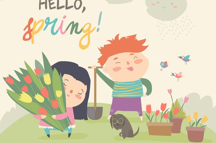 Thumbnail for Cute cartoon boy and girl with spring flowers. Vec