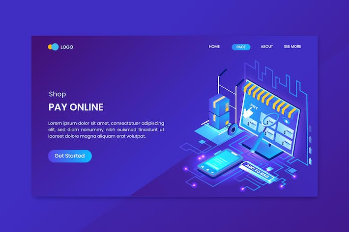 Thumbnail for Shopping Pay Online Isometric Concept Landing Page