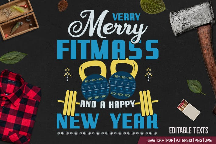 Thumbnail for Merry Fitmass, Happy New Year Tshirt, Xmas Design