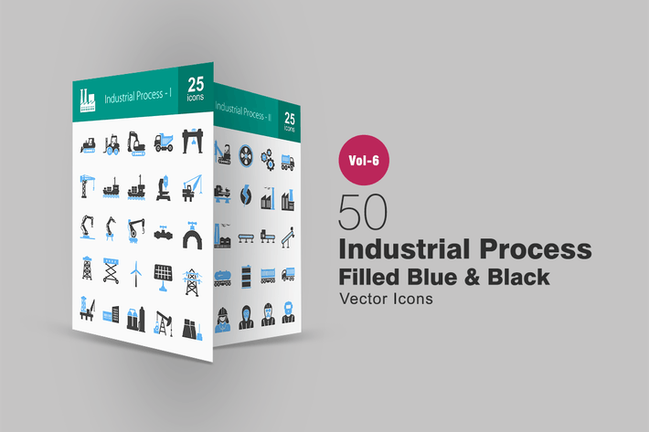 Thumbnail for 50 Industrial Process Blue & Black Icons