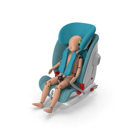 Kinder-Crashtest-Dummy im Sicherheitssitz