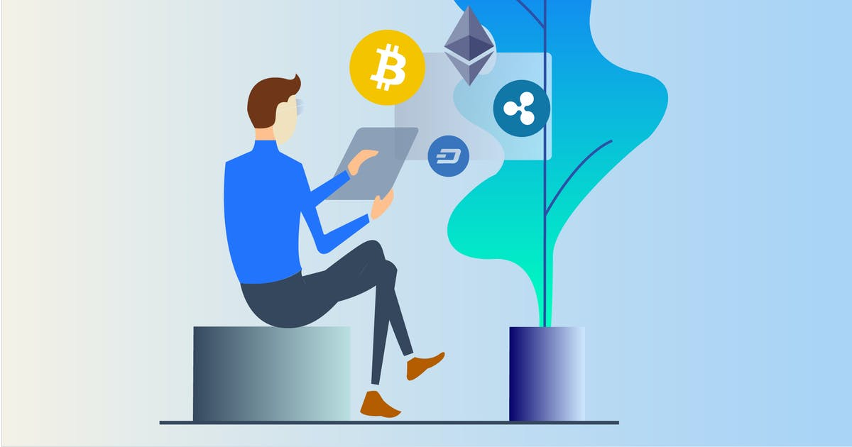 Download Cryptocurrency Business 2D Illustration by angelbi88