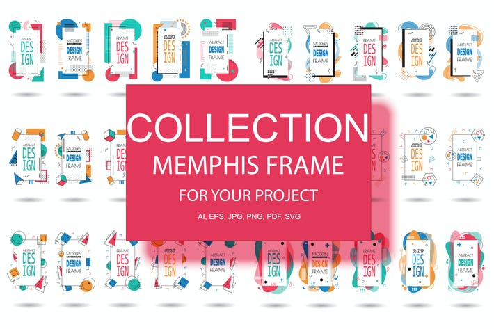 Thumbnail for Memphis Frame Hipster Geometric Elements Halftone