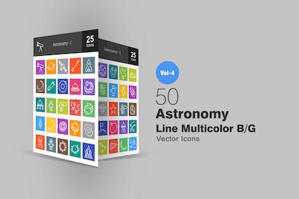 50 Astronomie Linie Multicolor Icons