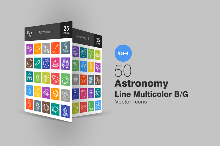 Thumbnail for 50 Astronomy Line Multicolor Icons