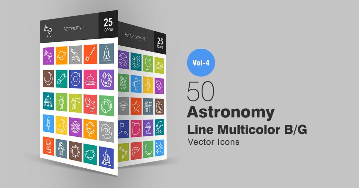 Download 50 Astronomy Line Multicolor Icons by IconBunny