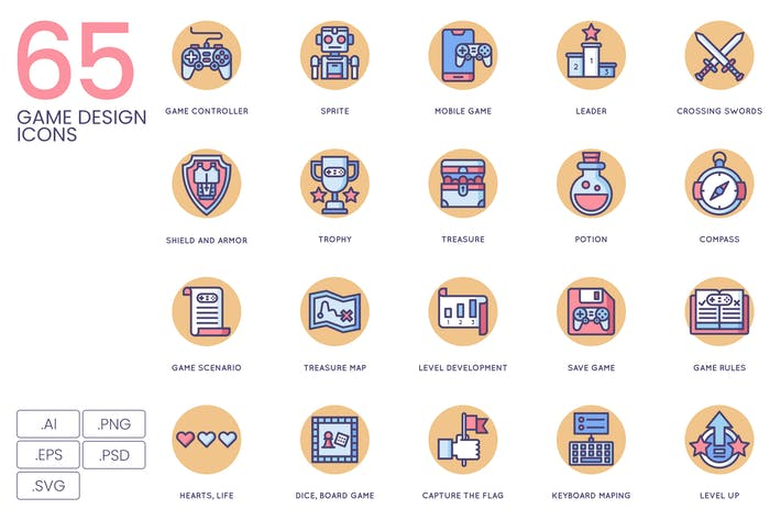 Thumbnail for 65 Game Design Icons | Butterscotch Series