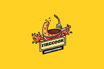 Fire Cook - Maskottchen Logo
