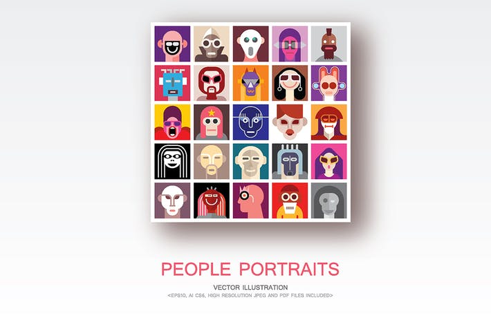 Cover Image For People Portraits vector flat style pop art collage