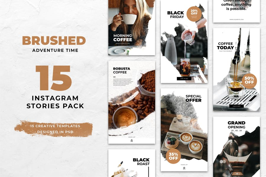 Coffee Brush Instagram Stories