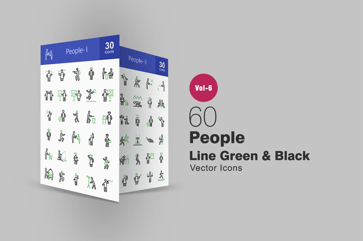 Thumbnail for 60 People Green & Black Line Icons