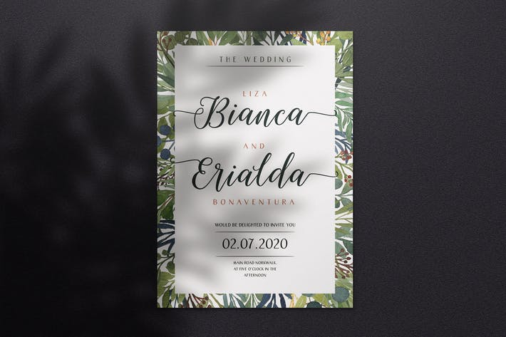 Thumbnail for Watercolor Wedding Invitation A4 - Style 07