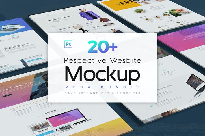 Cover Image For Pespective Website Mockup Bundle
