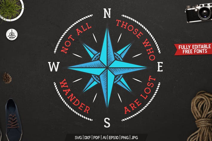 Thumbnail for Retro Nautical Badge, Travel Label, T-Shirt Print