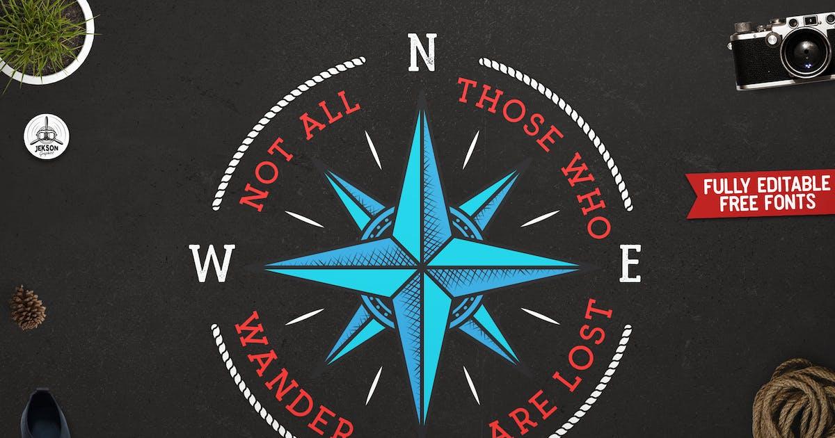 Download Retro Nautical Badge, Travel Label, T-Shirt Print by JeksonJS
