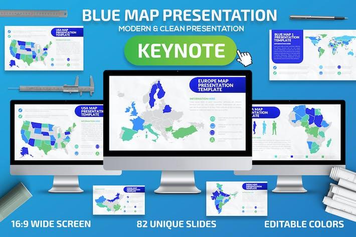 Thumbnail for Blue Map Keynote Presentation Template