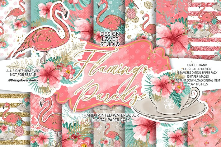 Thumbnail for Flamingos Paradise digital paper