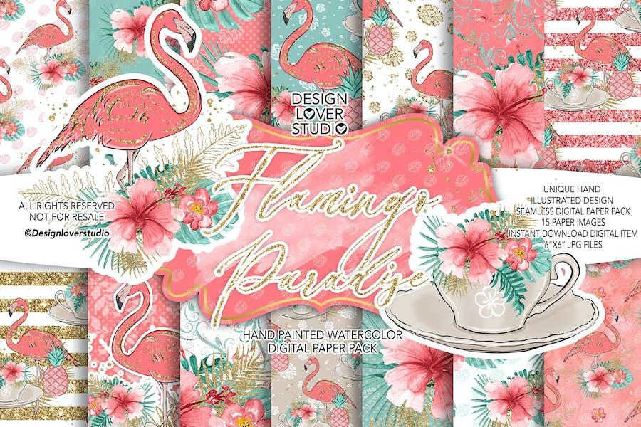 Flamingos Paradise digital paper