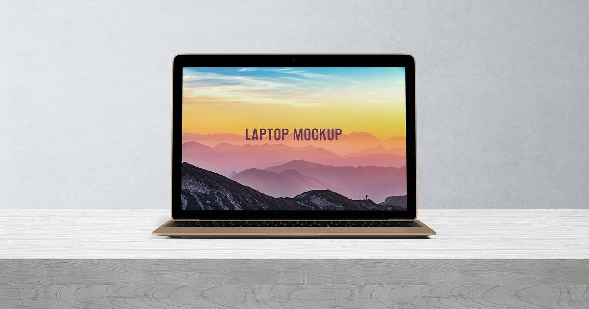 Download 14x9 Laptop Screen Mock-Up - Gold by professorinc
