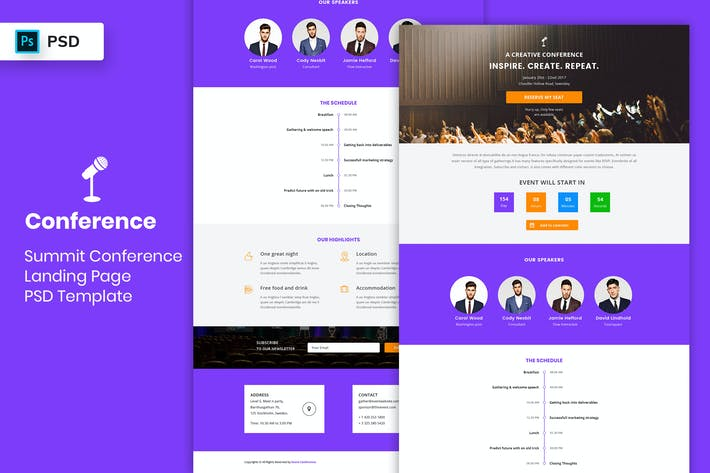 Thumbnail for Summit Conference - Landing Page PSD Template