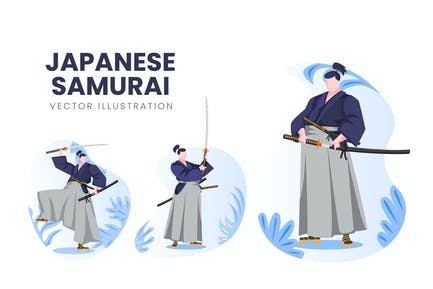 Japanese Samurai Vector Character Set