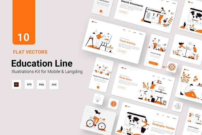 Education Vector Illustration Flat Line