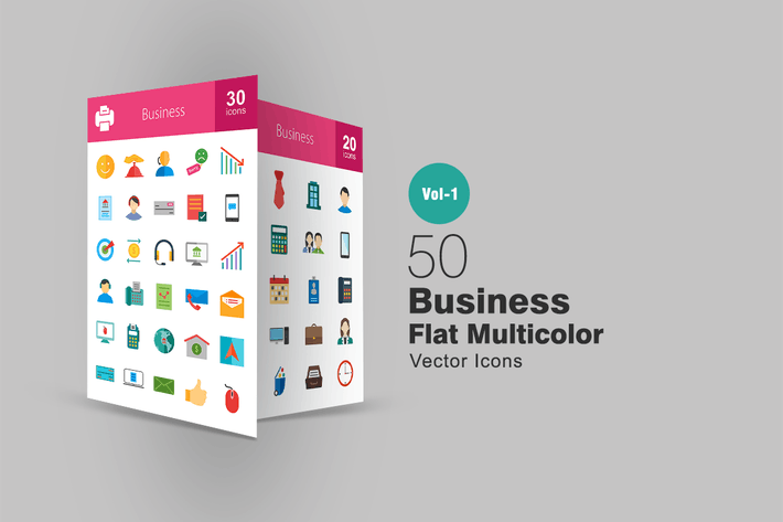 50 Business Flat Multicolor Icons