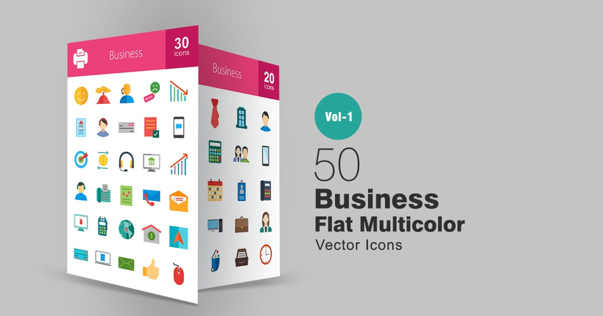Download 50 Business Flat Multicolor Icons by IconBunny