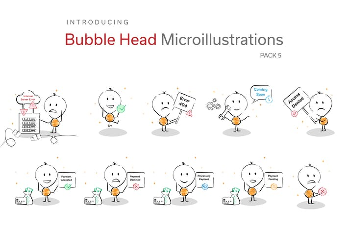 Thumbnail for Bubble Head Micro Illustrations - Errors Pack